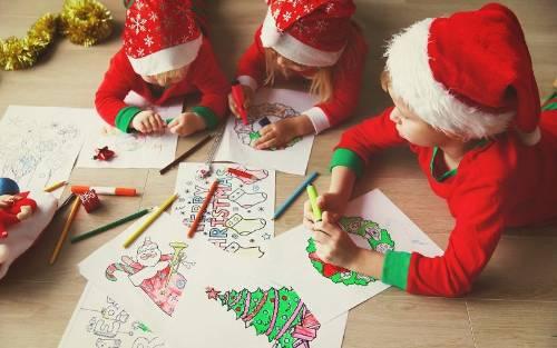 Colorear dibujos de Navidad con los niños